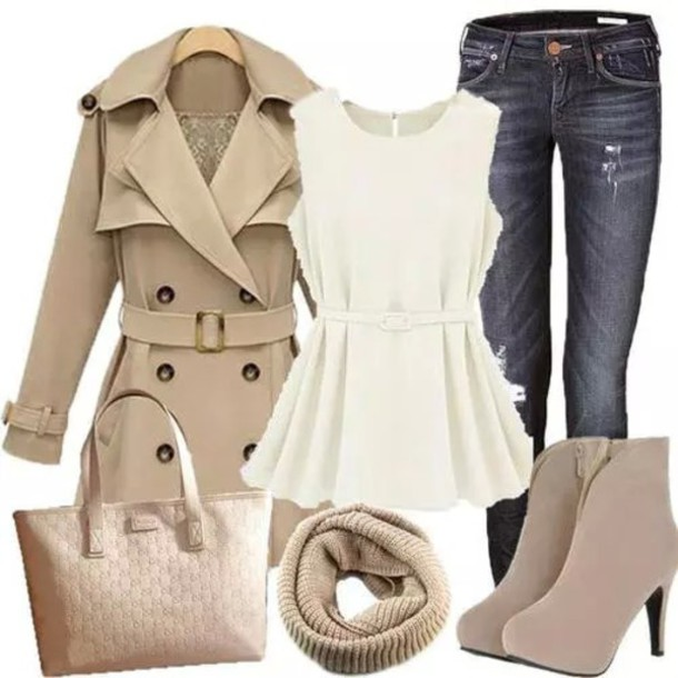 coat blouse jeans heels scarf purse white blue beige bag shirt shoes