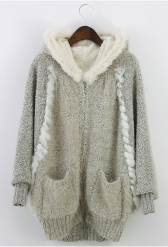 Fluffy Knit Hooded Coat  - Retro, Indie and Unique Fashion