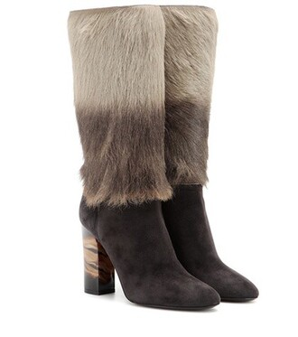 hair boots suede boots suede grey shoes