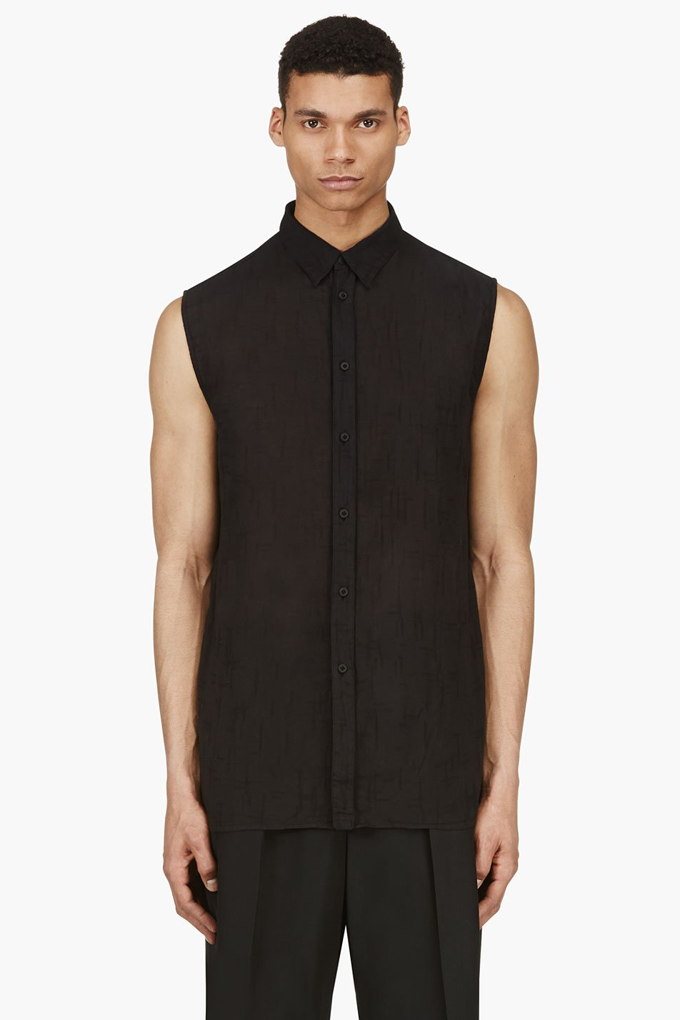 alexandre plokhov black slub sleeveless blouse