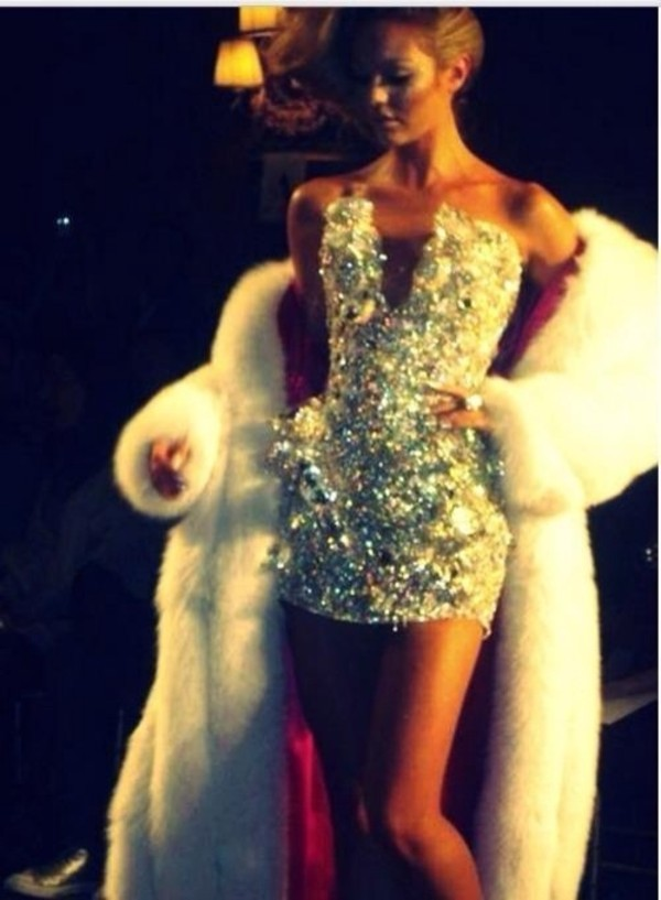 dress glitter dress sparkle mini dress sparkly dress silver strapless dress plunge v neck jewels white glitter diamonds short white dress diamond dress
