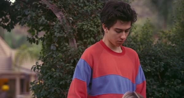 sweater, palo alto, nat wolff, red jumper, blue stripe ...