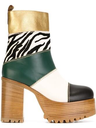 hair women boots platform boots leather black shoes