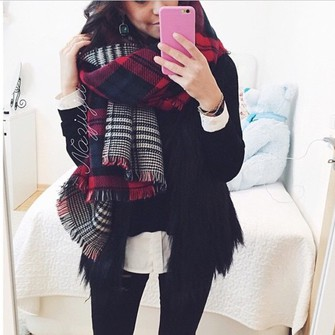 red scarf jeans outfit winter outfits style black jeans checkered check red scarves scarf red