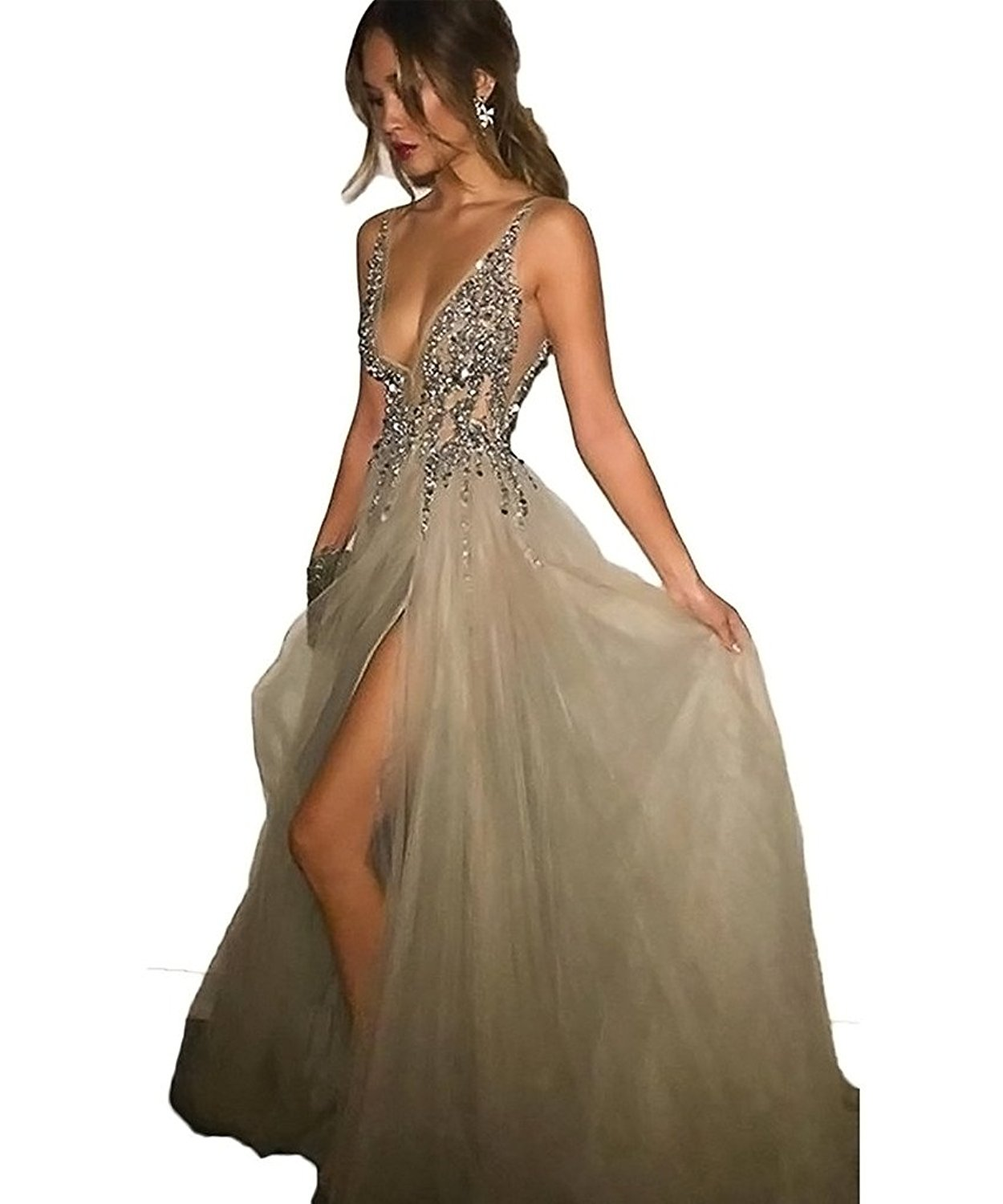cc9dac6cb8e698 Amazon.com: 2017 Sexy Gray Prom Dresses With Deep V Neck Sequins Tulle and  Lace Sex High Split Long ...