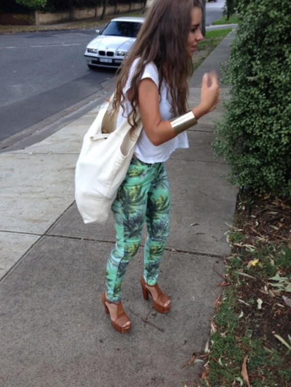 pants, palm, tree, print, palm tree pants, leggings, white shirt ...