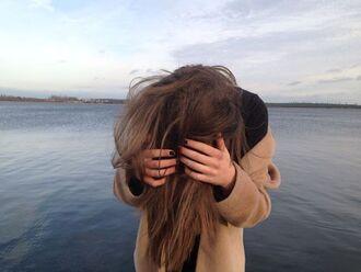 coat camel jacket brown hair sea