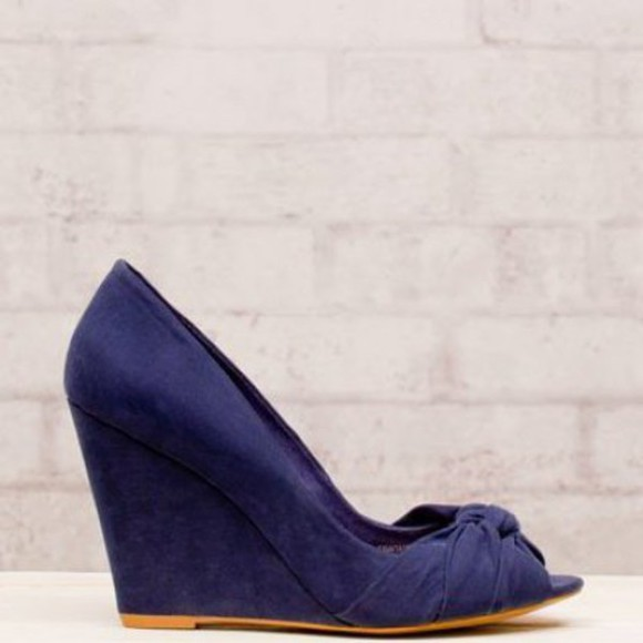 shoes blue shoes dark blue wedges open toes classy