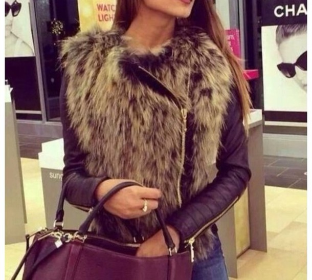 Fur Jacket With Leather Sleeves