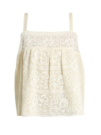 tank top top embroidered cream