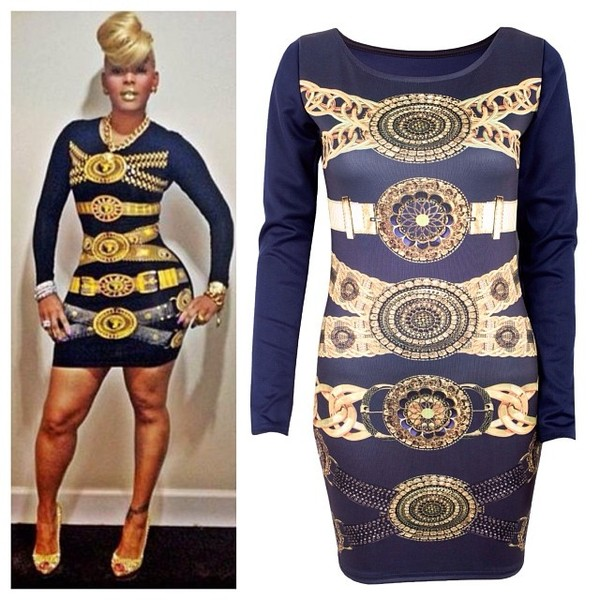dress kaoir versace bodycon dress black dress gold dress little black dress keyshia kaoir versace