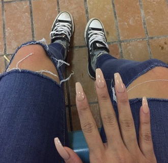 jeans ripped jeans nail polish