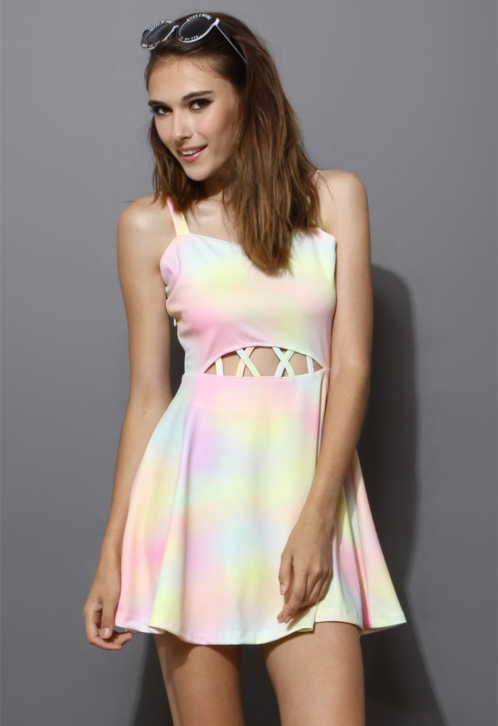 Sweetheart Cut Out Rainbow Dyed Print Dress - Sheinside.com