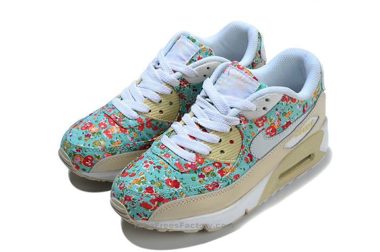 2013 nike air max 90 womens small floral blue red