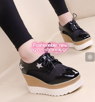 shoes stars sneakers black shoes wedges black shoes  heels wedge sneakers high heel sneakers shoes black wedges