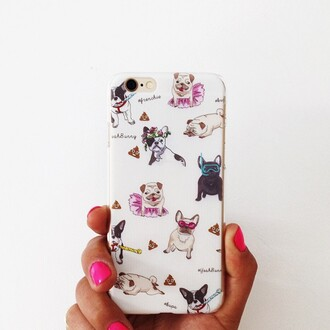 phone cover yeah bunny pugs dogs frenchie animal print