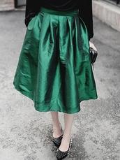 skirt,dress,fashion skirts,Choies,forest green,midi skirt