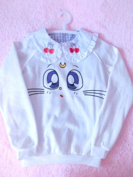 sweater sailor moon neko cats cute sweater kawaii