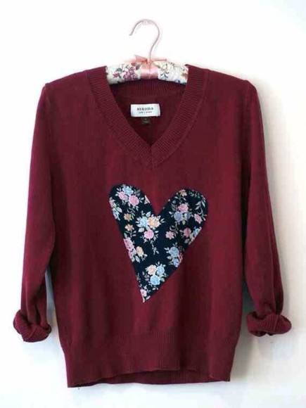 sweater burgundy sweater floral decal heart