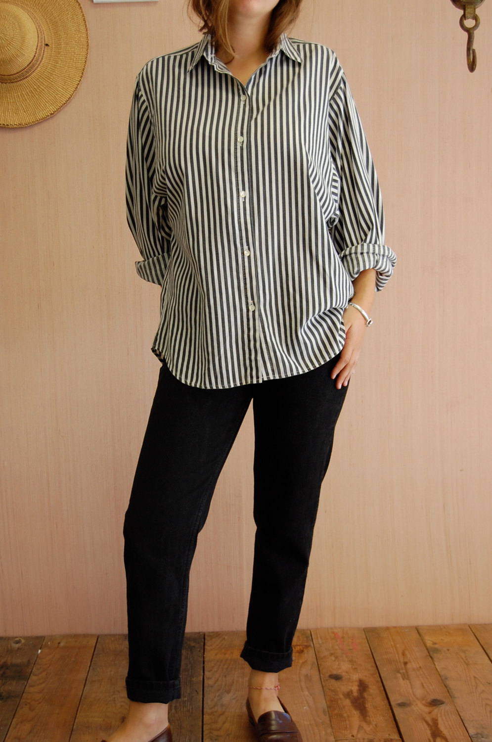 Vintage 80s Oversized Black & White Striped Button Up