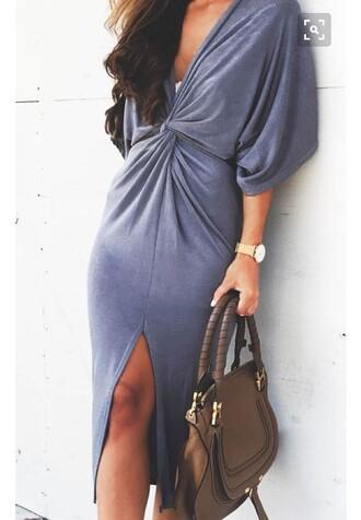 dress cross knot top blue dress slit dress twisted front musthave dess midi dress deep v dress