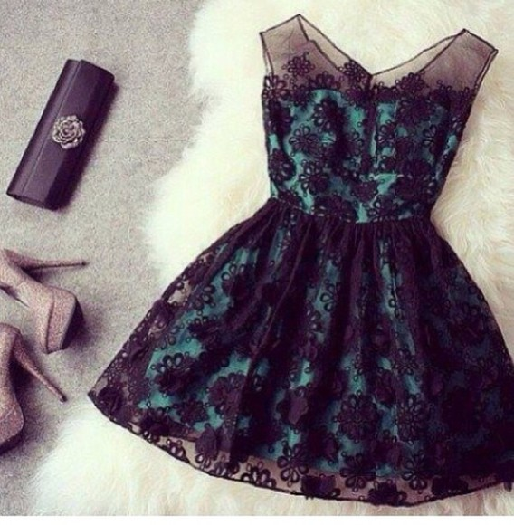 floral dress black lace layed