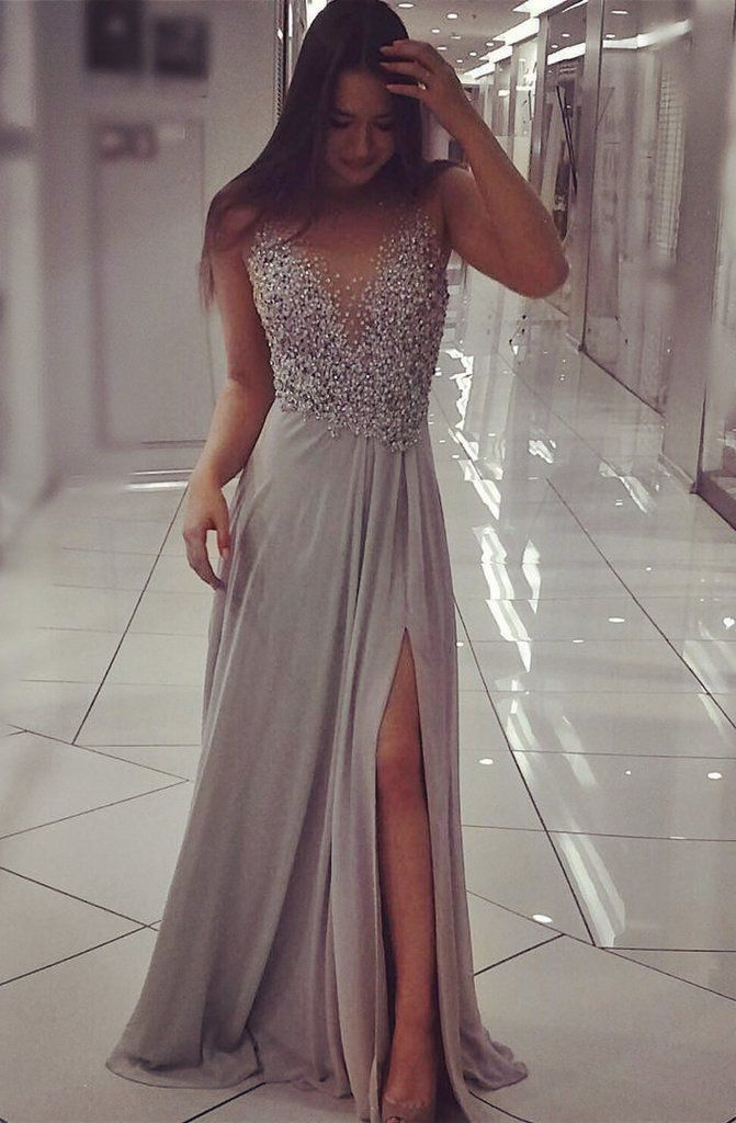 944796ae397 Grey Chiffon Sparkly Beaded Prom Dress With Slit