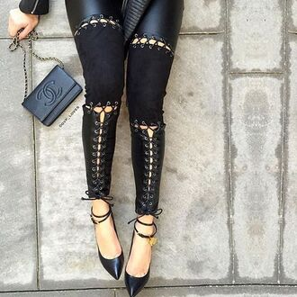 leggings maniere de voir lace up tie up leather suede panel gvp tom ford chanel