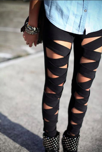 jeans leggings black black leggings black jeans pants cotton spandex tighta grunge holes straps strappy slit tight tights cute girly punk