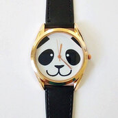 jewels,panda,watch,handmade,etsy,fashion,style,black and white,basic