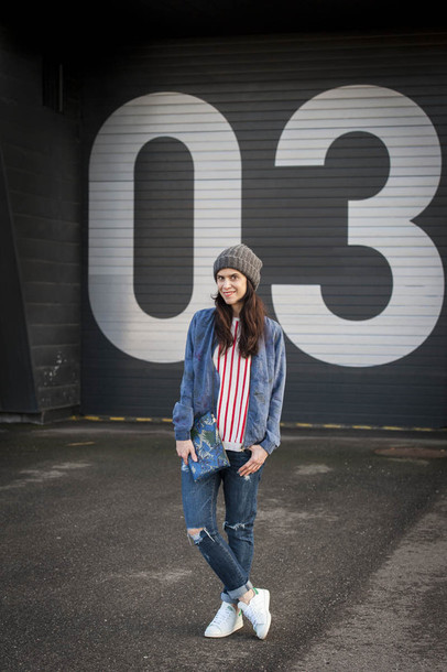 punky b blogger striped sweater ripped jeans denim jacket jeans top