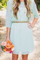dress,teal dress,flowers,roses,gold belt,necklace,summer dress,see through dress,blue dress,mini dress,baby blue,casual dress,aqua,dress blue,blue prom dress,blue,cute dress,cute,mint blue dress