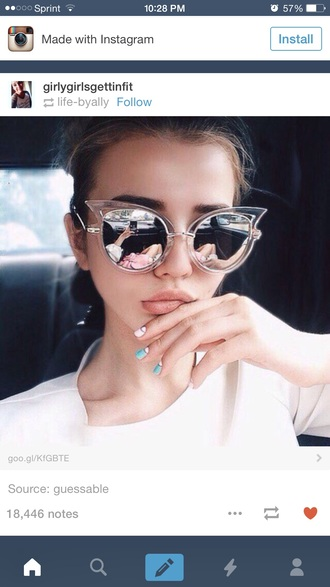 sunglasses shades transparent geometric cool mirrored