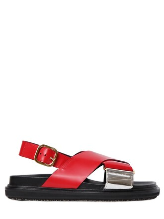 sandals leather sandals leather silver red shoes
