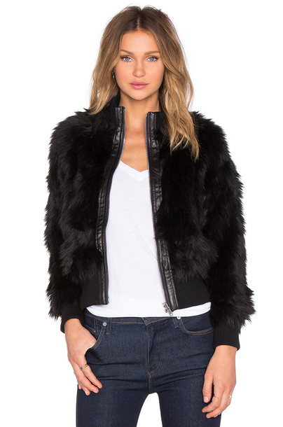 7 For All Mankind jacket faux fur jacket fur jacket fur faux fur black
