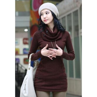 dress brown casual fall outfits trendy cool long sleeves kawaii winter outfits trendy long sleeve women's t-shirt with scarf cute