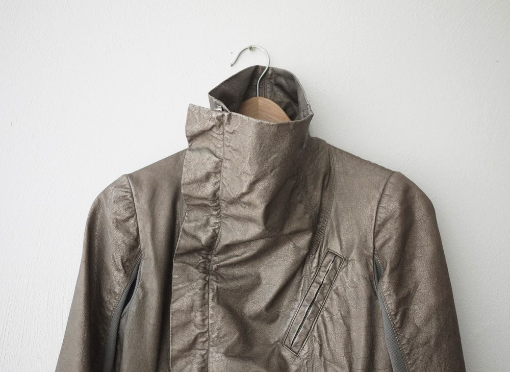 NWT Rick Owens Classic Biker Metallic Leather Jacket size 42 IT