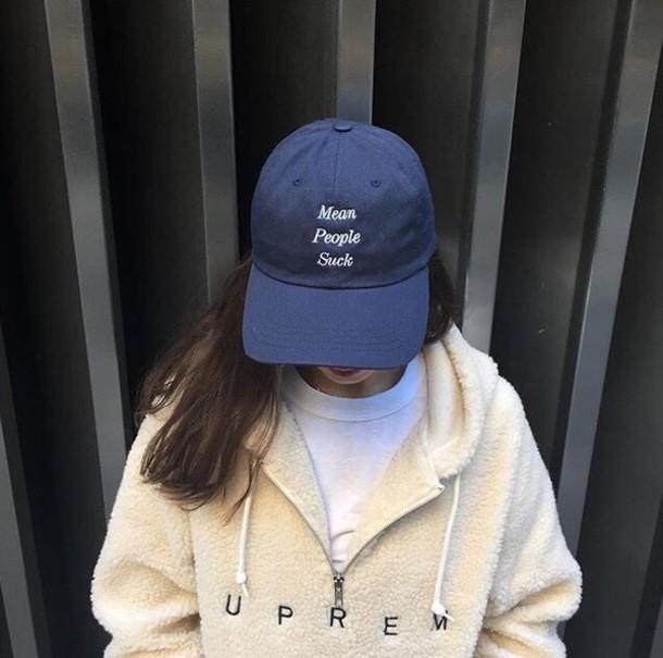 hat blouse supreme white off-white baseball cap blue fur faux fur jacket  mean girls 9cd5509dc96