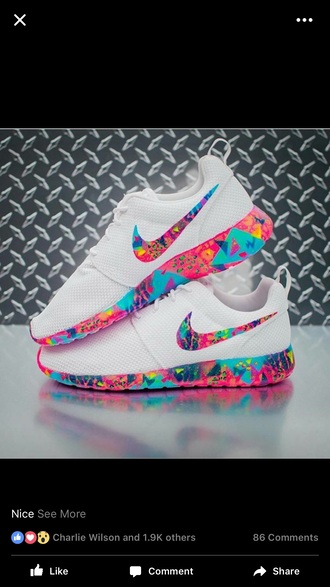 shoes nike nike shoes sneakers white roshe nike running shoes white sneakers multicolor low top sneakers white nike roshe run colorful nike rose to she run nike roches colorful white base pink blue purple multicolored roshe rainbow