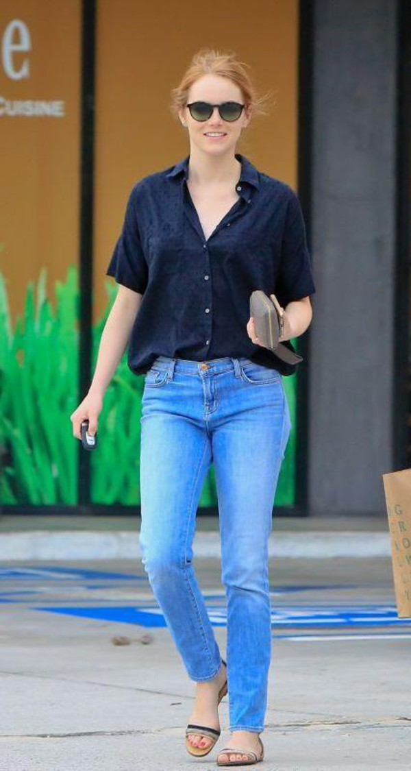 shoes sandals jeans shirt emma stone blouse straight jeans