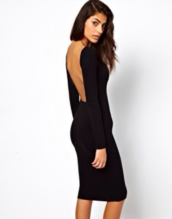 dress little black dress bodycon bodycon dress cute cute dress black low back dress midi dress brunette