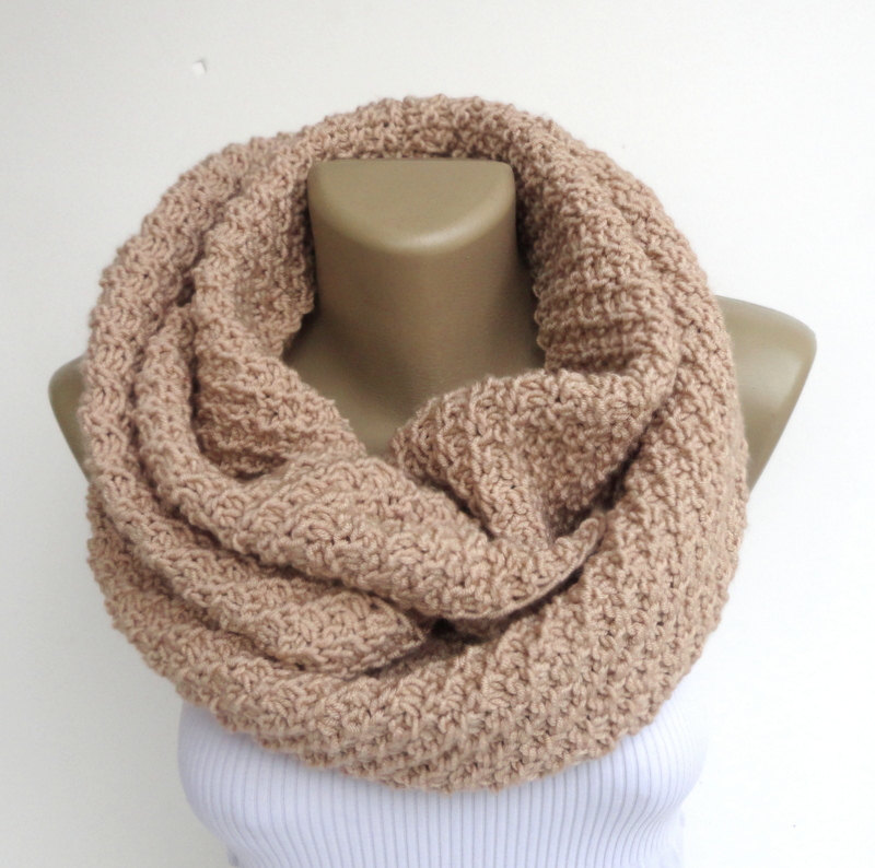 beige winter scarf ,infinity scarf ,knit scarf unisex scarves, women men scarf neck warmer , cowl , knitted neckwarmer senoAccessory