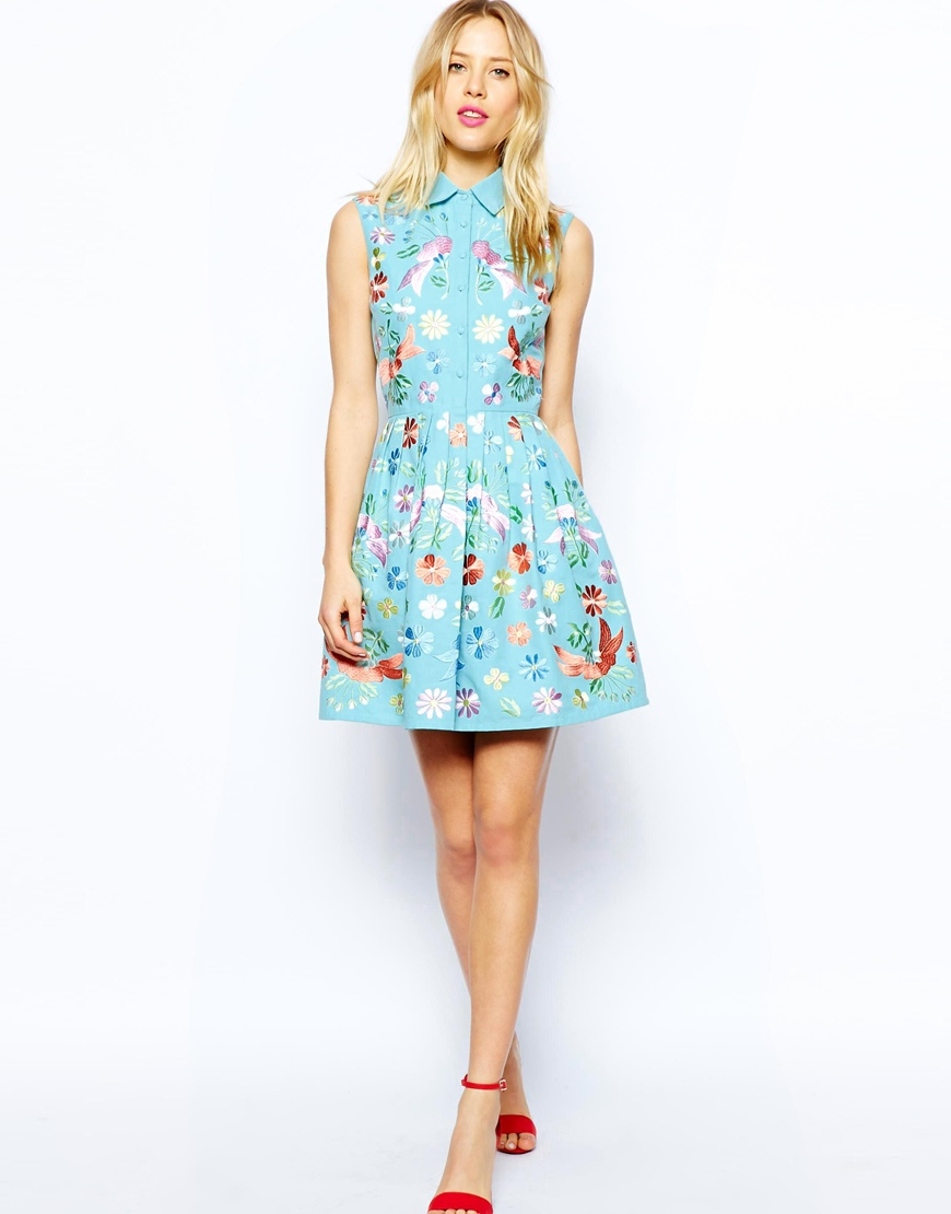 ASOS Premium Shirt Skater Dress With Pastel Embroidery at asos.com