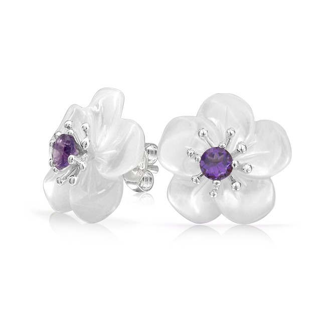 Amethyst Carved Mother of Pearl White Flower Stud Earrings Silver