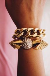 jewels,links,gold,chunky,spikes,rhinestones