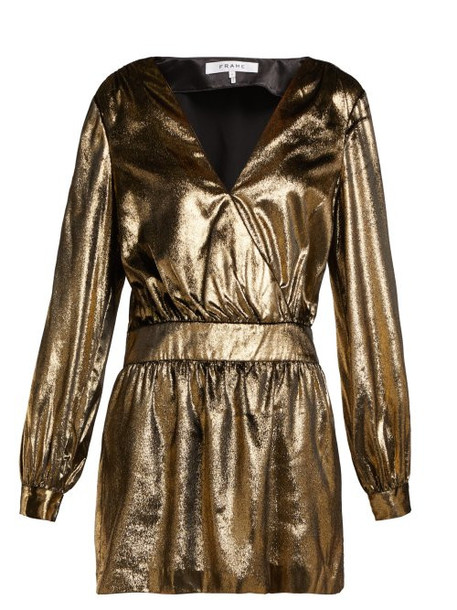 Frame - Metallic Velvet Mini Dress - Womens - Gold