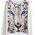 White Long Sleeve Tiger Face Print Sweatshirt - Sheinside.com