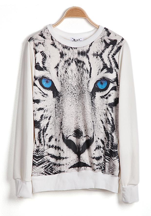 White Long Sleeve Tiger Face Print Sweatshirt - Sheinside.com