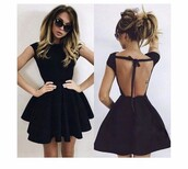 dress,black dress,open back,little black dress