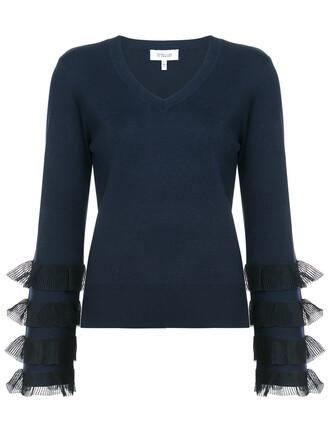 sweater ruffle sweater long ruffle women cotton blue